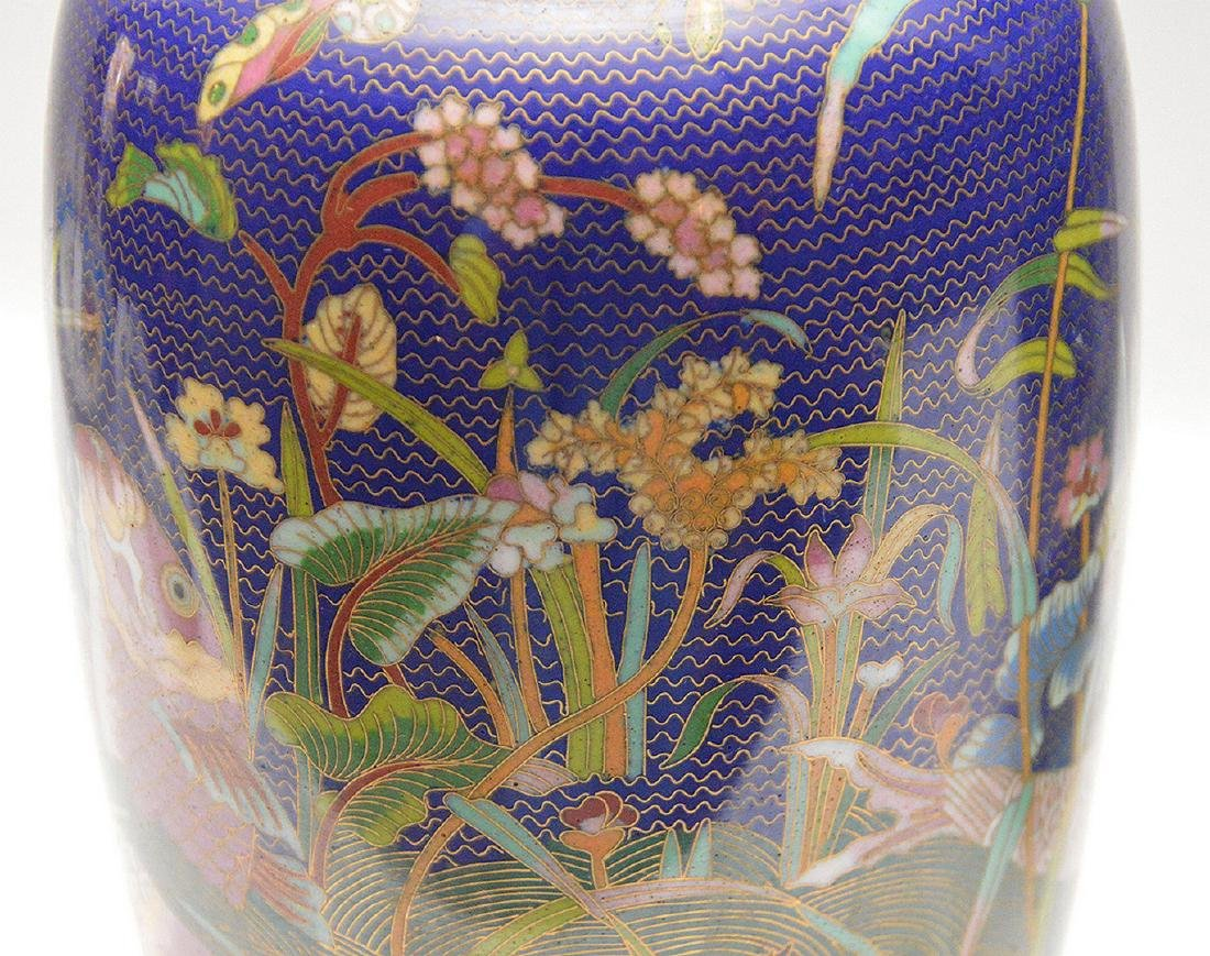 Pair cloisonné vases, each signed on the bottom, 11 - 2