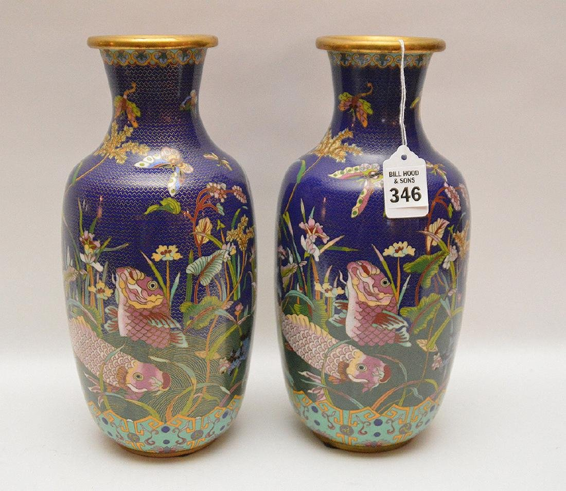 Pair cloisonné vases, each signed on the bottom, 11 - 5