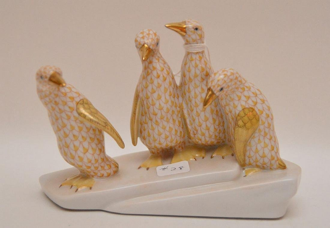 """Herend penguin grouping, 4 1/4""""h"""