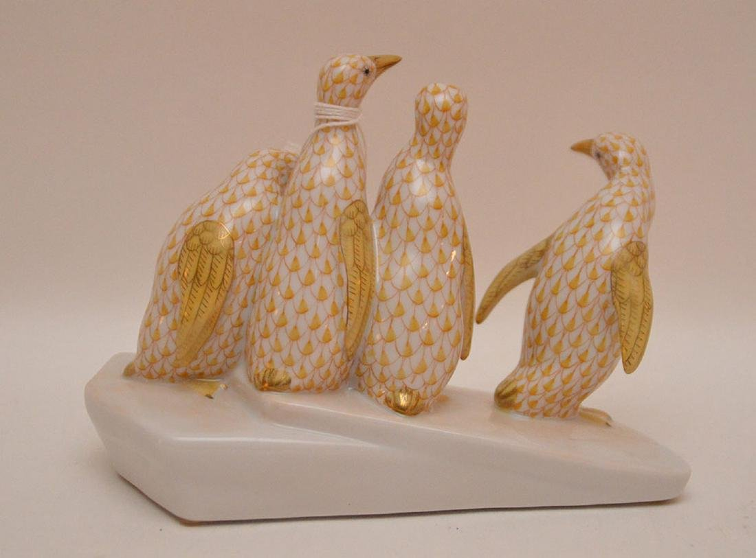 """Herend penguin grouping, 4 1/4""""h - 2"""