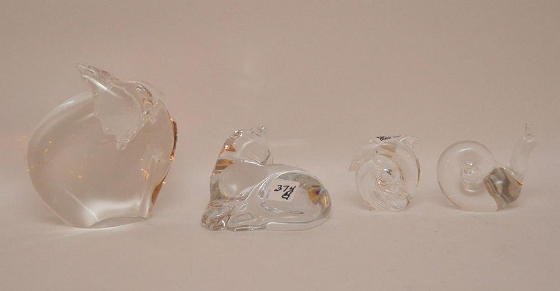 4 pieces, Steuben and Baccarat, snail, fish, cat and