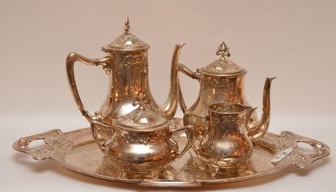 "5 pc. Art Nouveau silver plate tea set, tray (22"" x"
