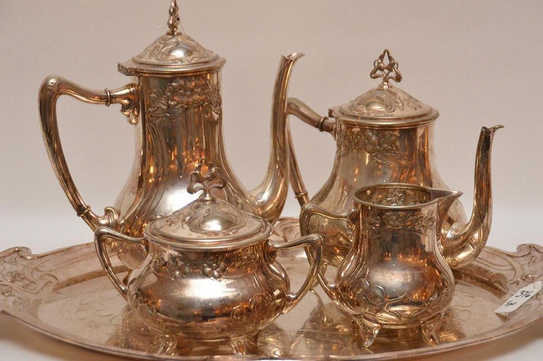 "5 pc. Art Nouveau silver plate tea set, tray (22"" x - 2"