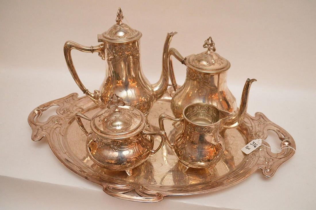 "5 pc. Art Nouveau silver plate tea set, tray (22"" x - 3"