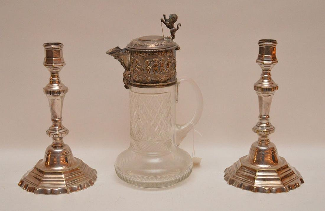 Pair French silver plate candlesticks, circa 1820, (9