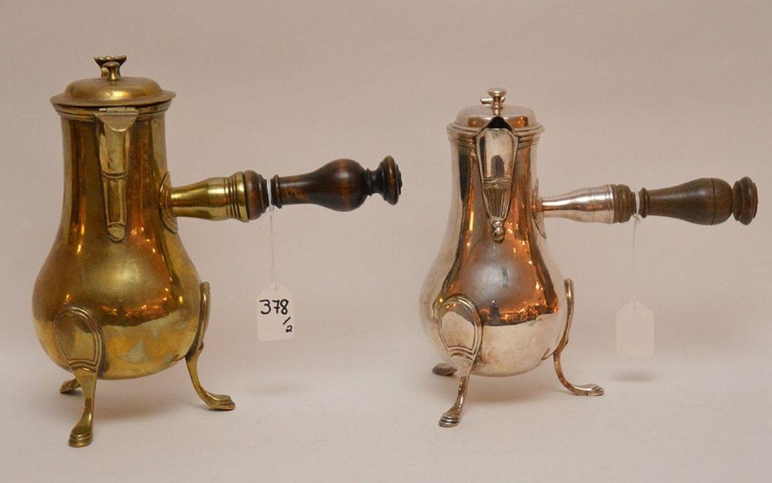 """French brass coffee pot, circa 1785 (10 1/2""""h) AND"""