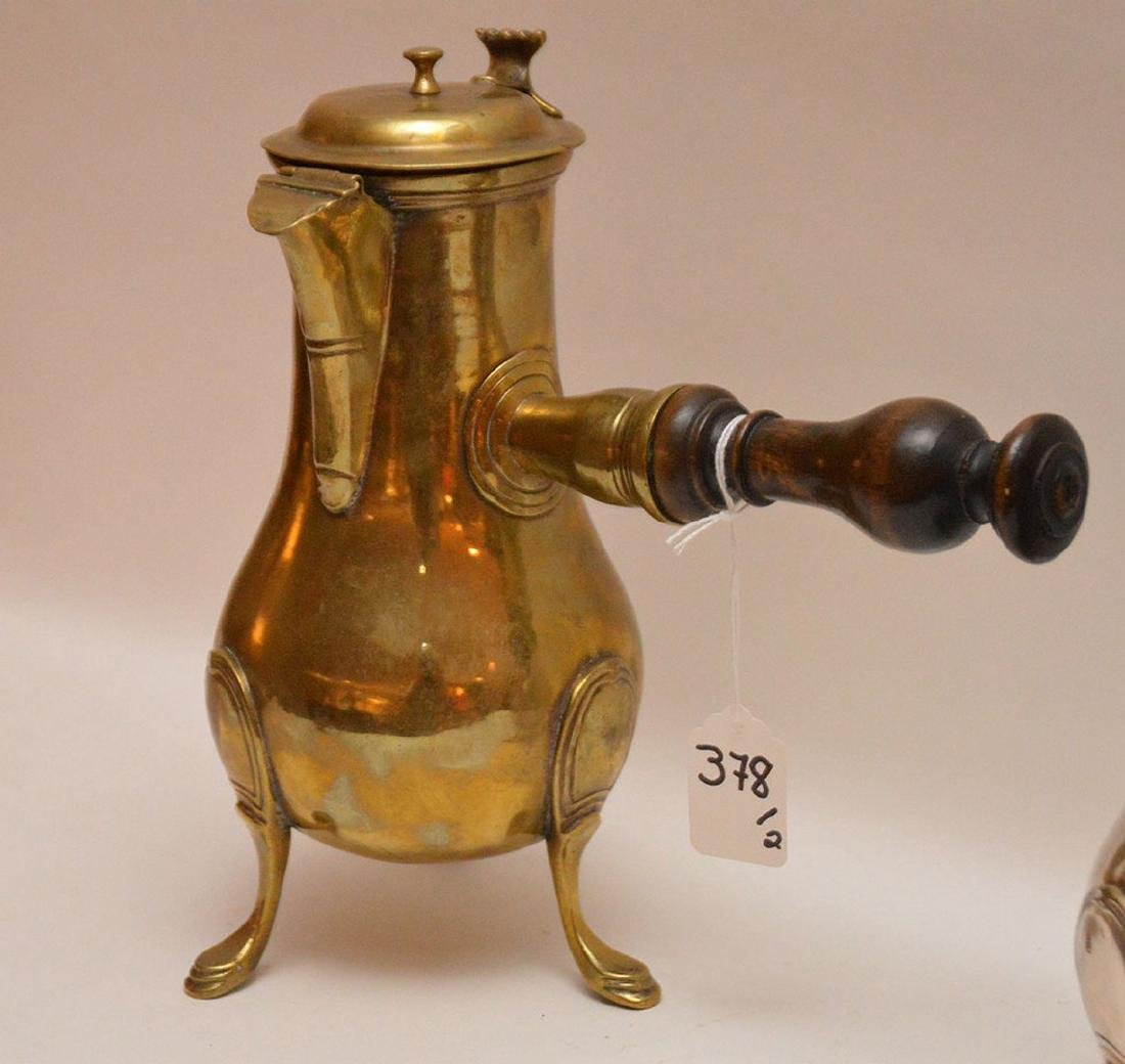 """French brass coffee pot, circa 1785 (10 1/2""""h) AND - 3"""