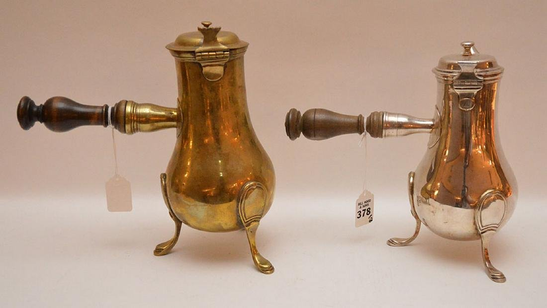 """French brass coffee pot, circa 1785 (10 1/2""""h) AND - 4"""