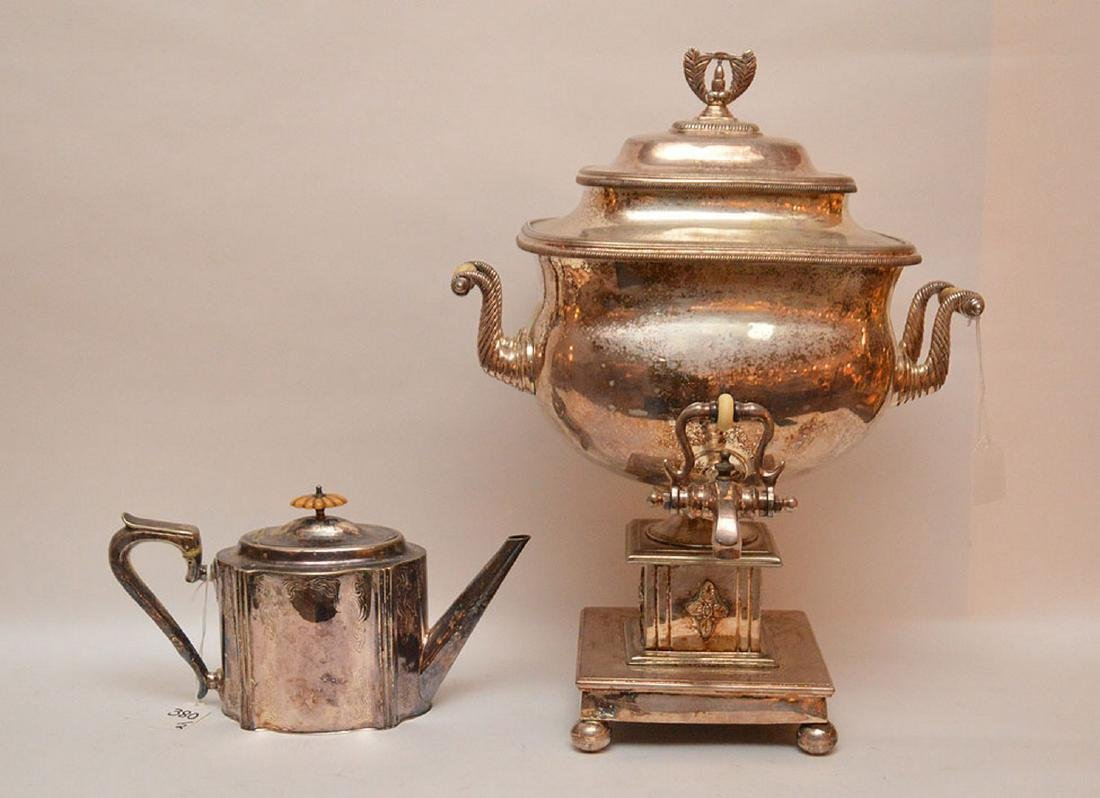 """Georgian style silver plate teapot, (11""""L) AND"""