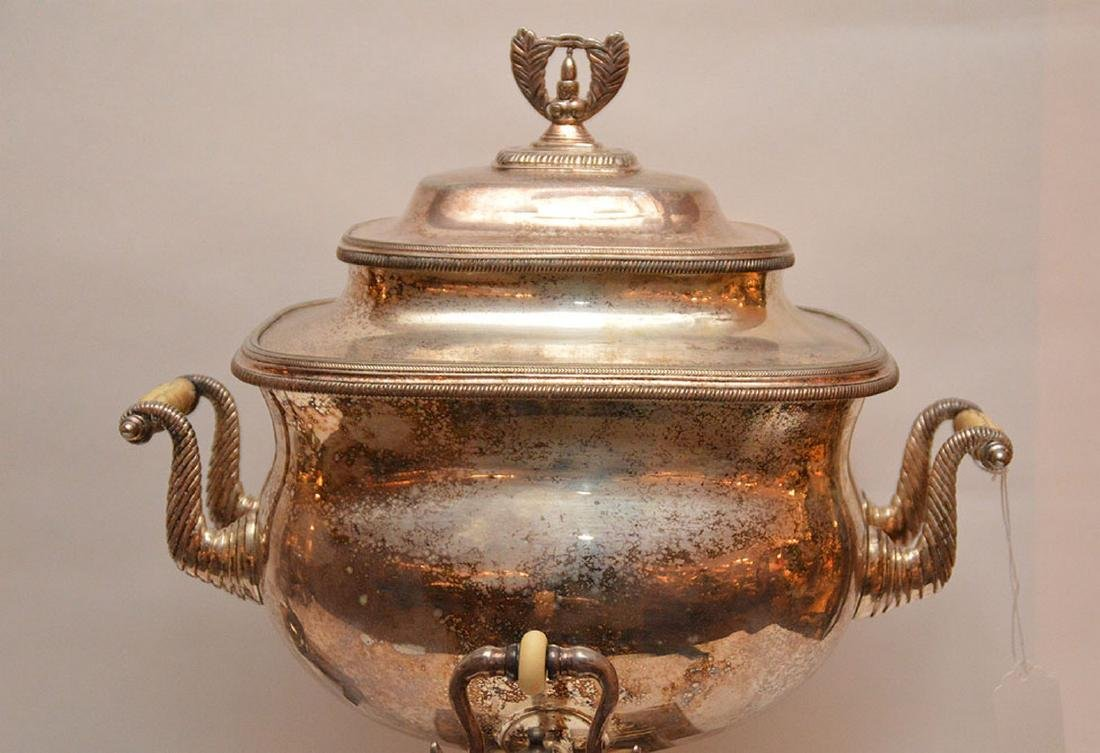"""Georgian style silver plate teapot, (11""""L) AND - 2"""