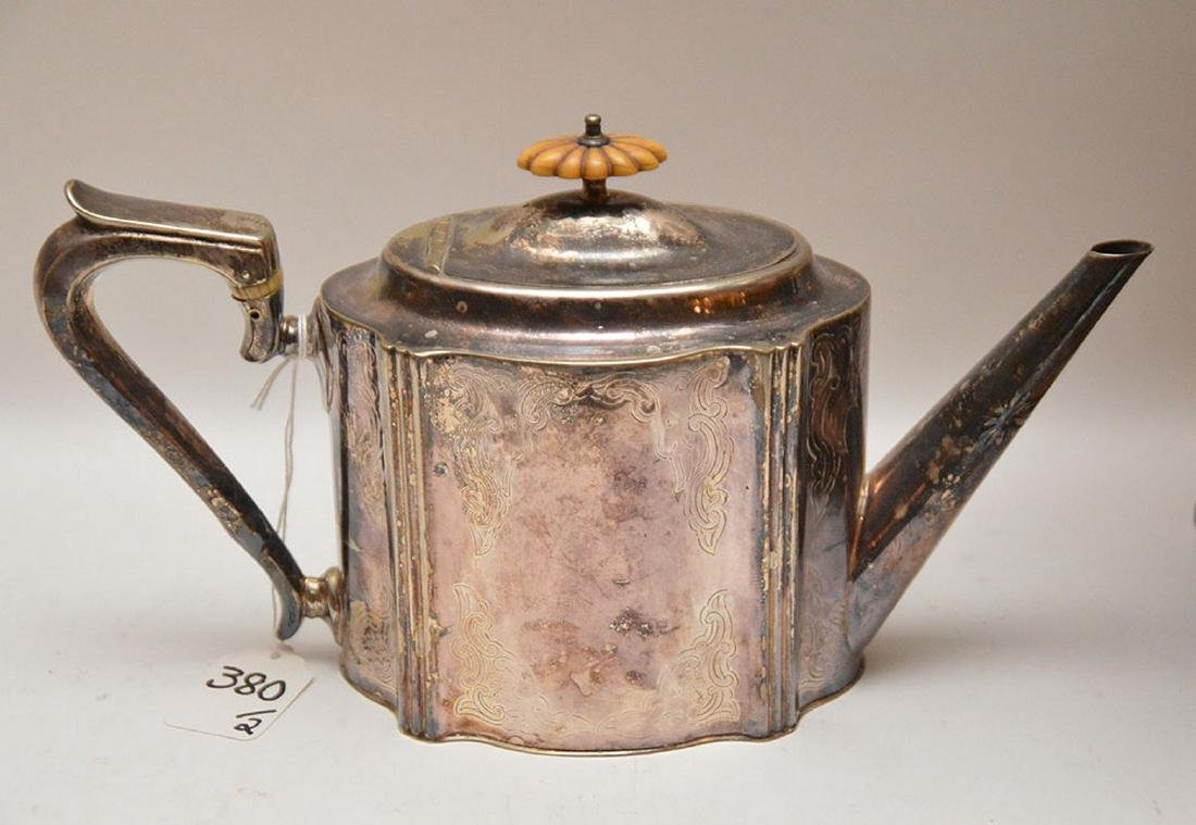 """Georgian style silver plate teapot, (11""""L) AND - 5"""