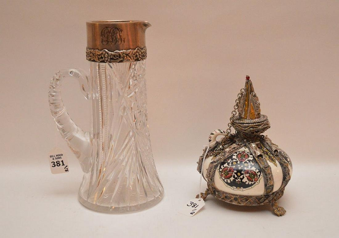 "Persian silver & porcelain jug (8 1/2""h) AND sterling &"