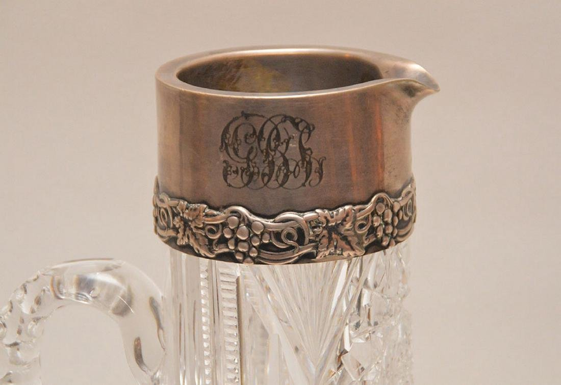 "Persian silver & porcelain jug (8 1/2""h) AND sterling & - 2"