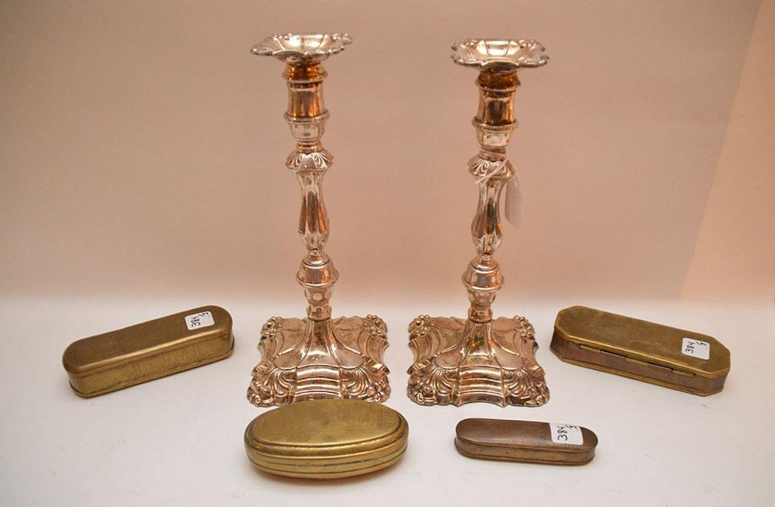 Pair English Victorian silver plate candlesticks, circa
