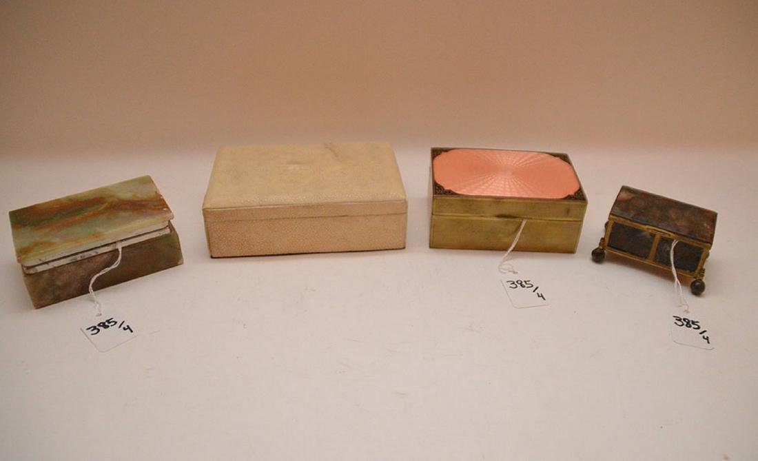 "Lot 4 Assorted Boxes.  1 Onyx and Brass 2 1/4"" x 2"""