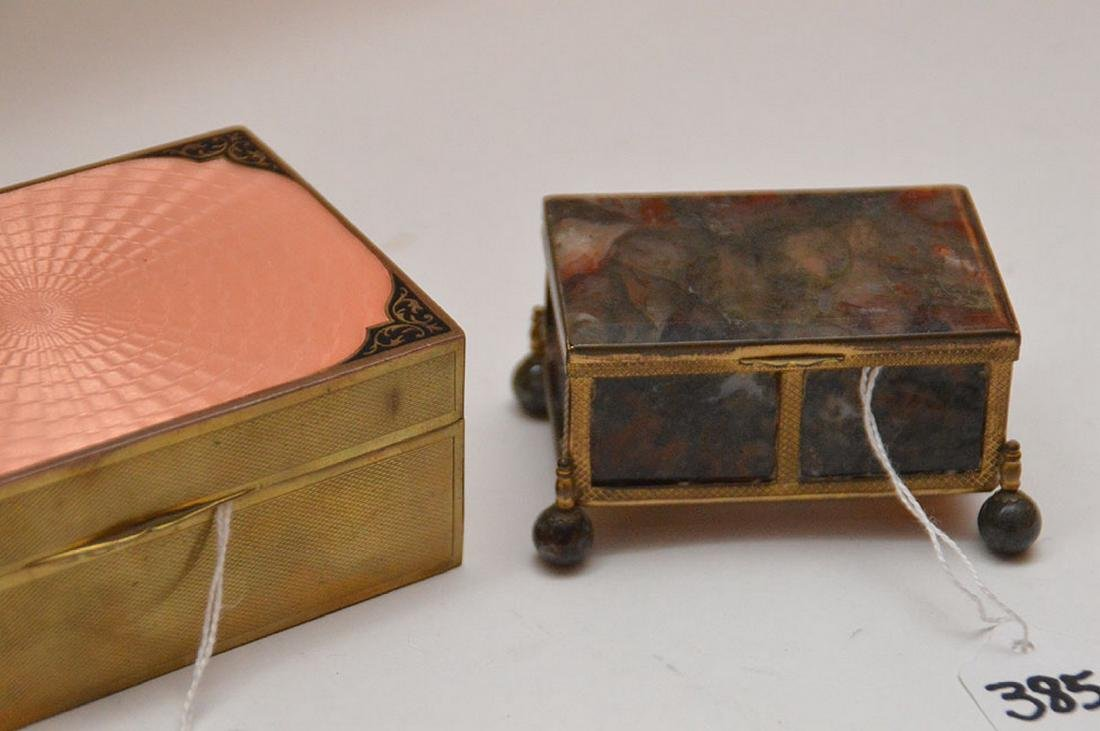 "Lot 4 Assorted Boxes.  1 Onyx and Brass 2 1/4"" x 2"" - 3"