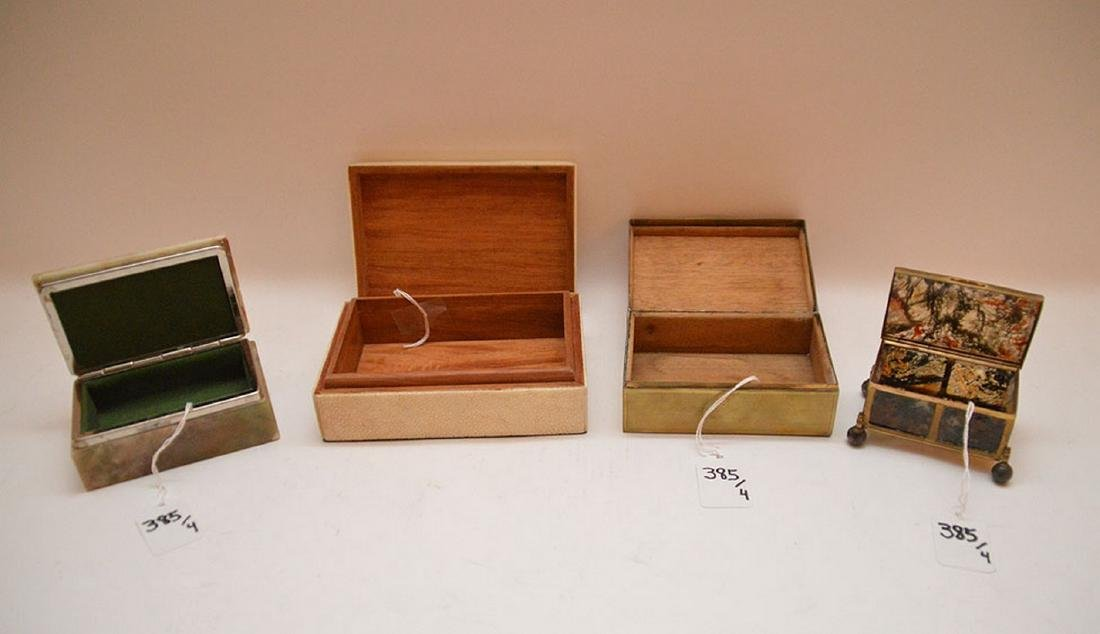 "Lot 4 Assorted Boxes.  1 Onyx and Brass 2 1/4"" x 2"" - 4"