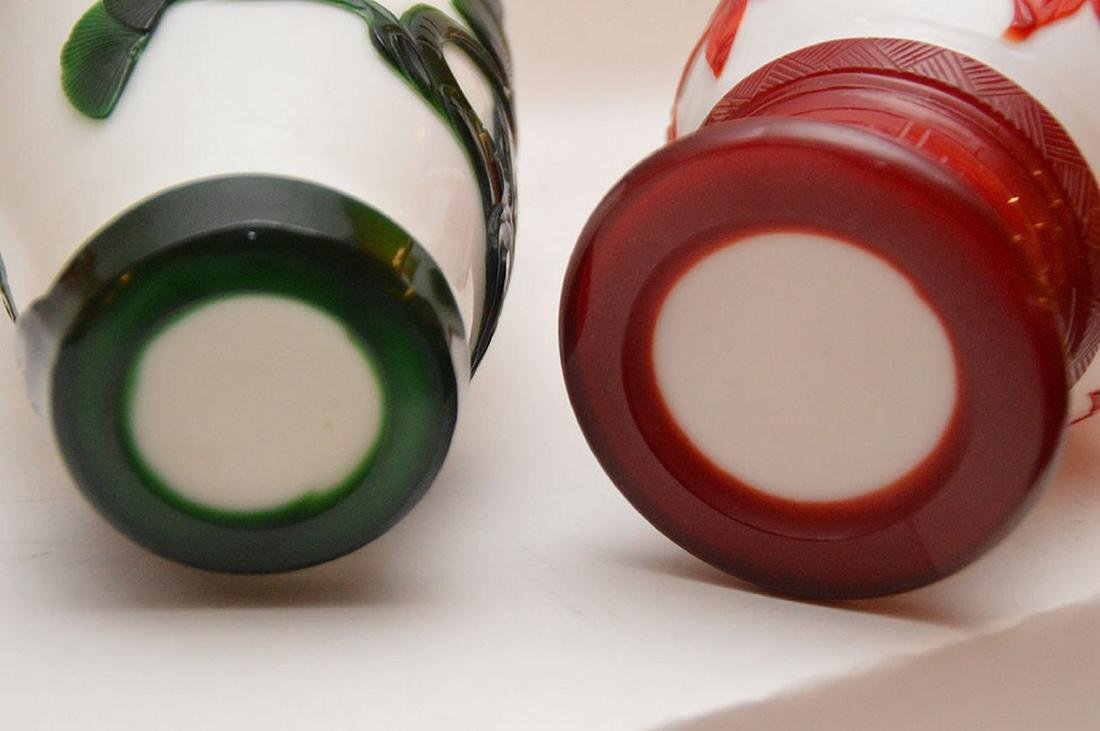 Lot 3 Peeking Glass Vases.  Pair Red and White Ht. 9 - 5