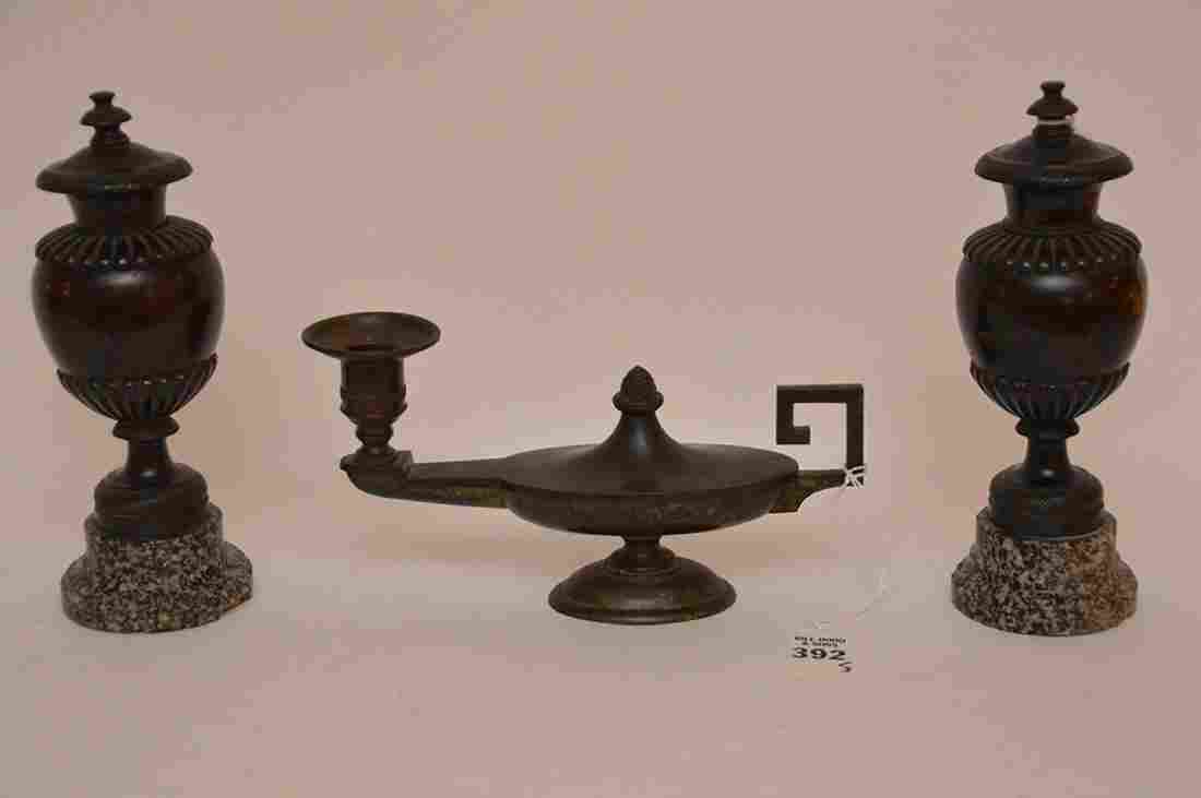"Patinated Bronze Candle Holder Lth. 8 1/2"".  Together"