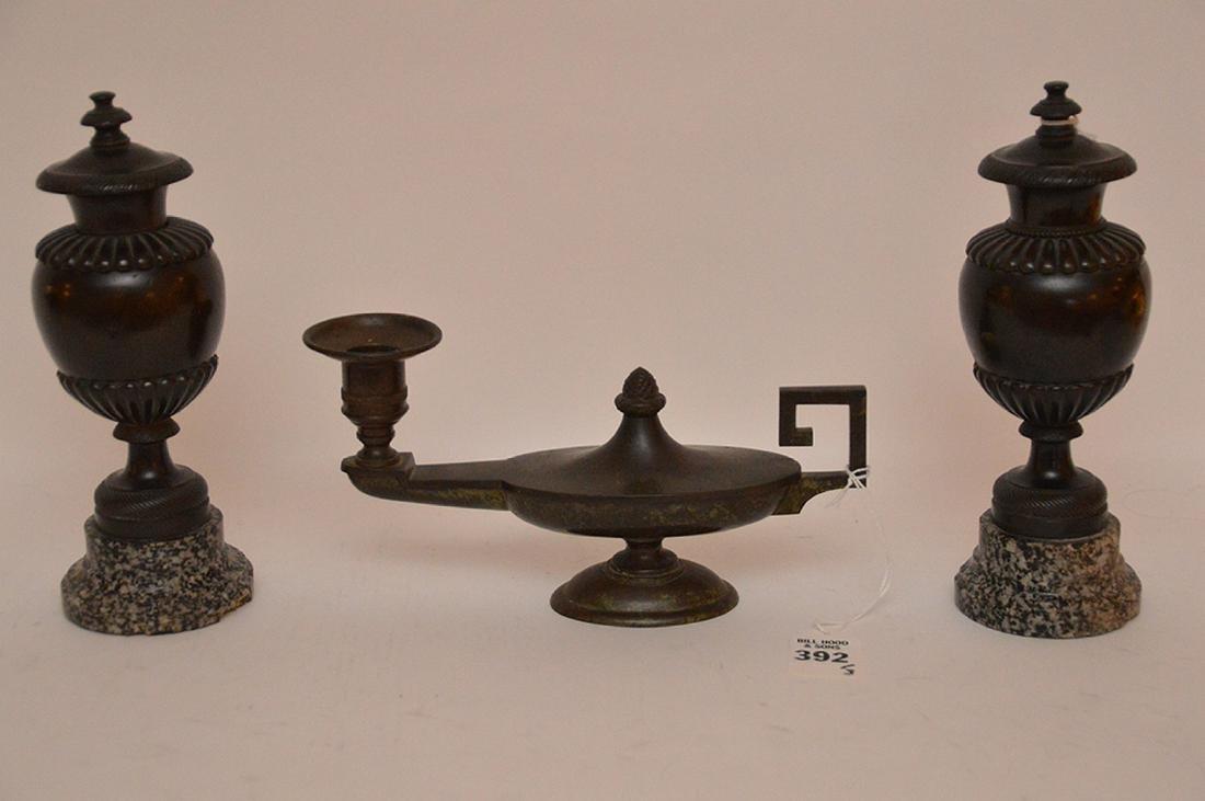 "Patinated Bronze Candle Holder Lth. 8 1/2"".  Together"