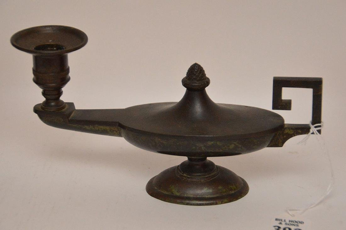 "Patinated Bronze Candle Holder Lth. 8 1/2"".  Together - 2"