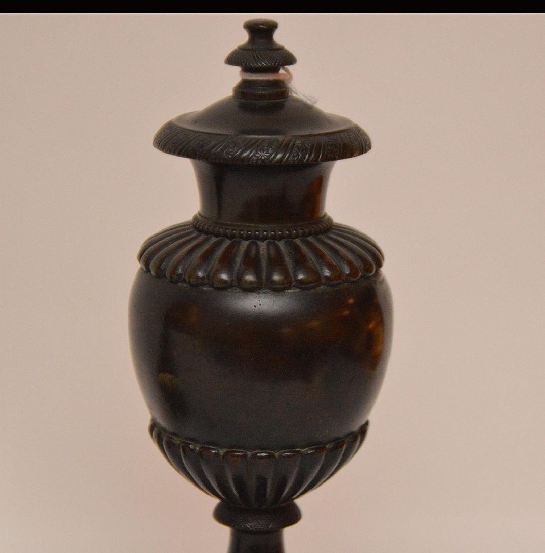 "Patinated Bronze Candle Holder Lth. 8 1/2"".  Together - 3"