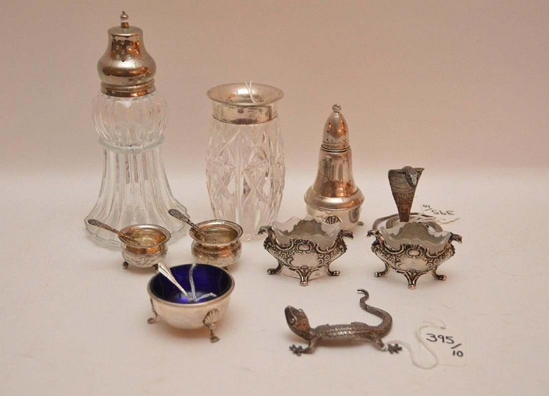 Lot Assorted Sterling & Glass Items.  Vase Ht. 4 1/2""