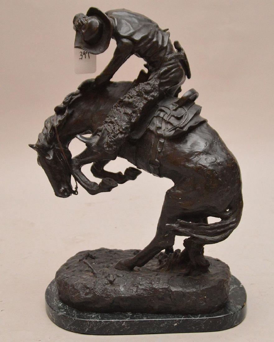 "Remington Bronze restrike of cowboy on horse, 24""h x"