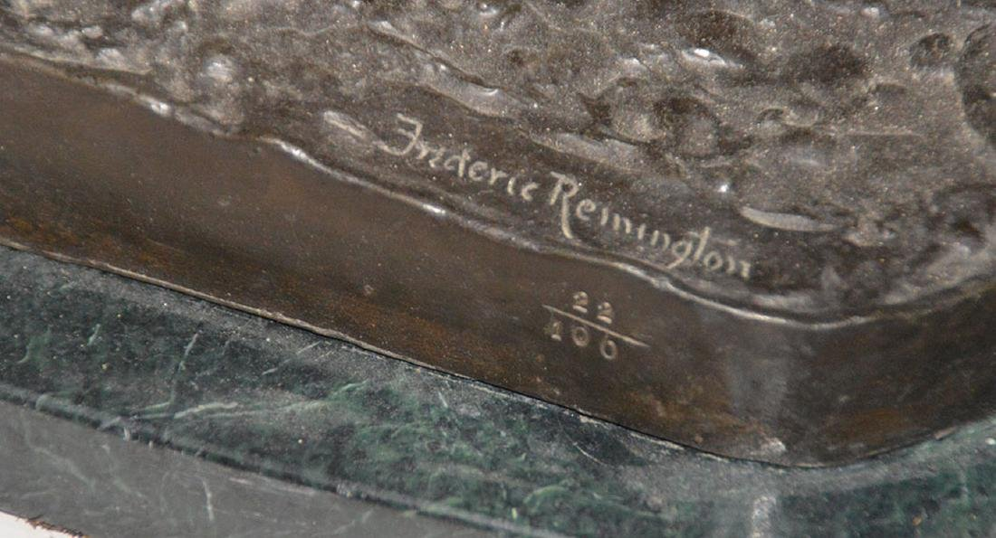 "Remington Bronze restrike of cowboy on horse, 24""h x - 6"