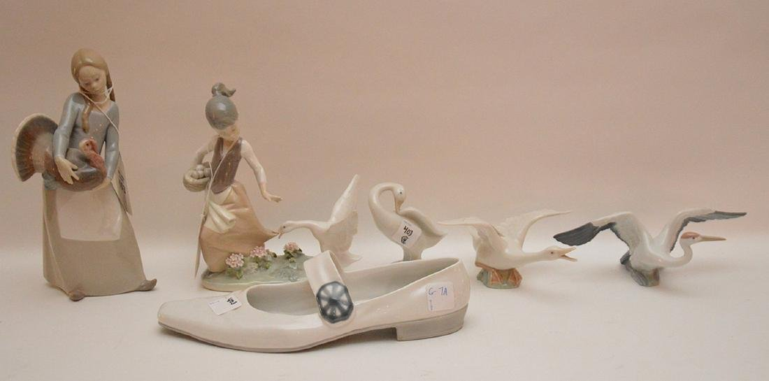 "Lladro & Nao pieces, goose (5""L), girl and goose (8"