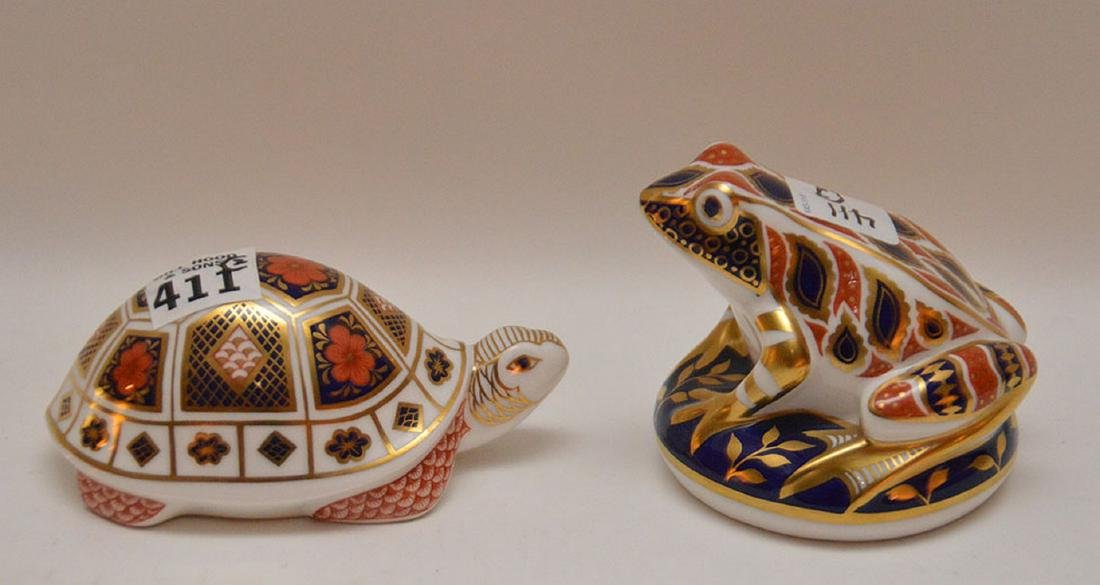 "Royal Crown Derby turtle (4 1/2"") and frog (3 1/2"")"