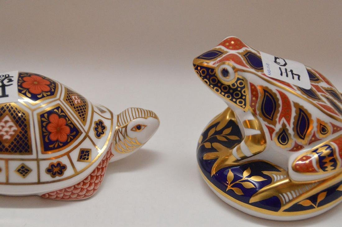 "Royal Crown Derby turtle (4 1/2"") and frog (3 1/2"") - 2"