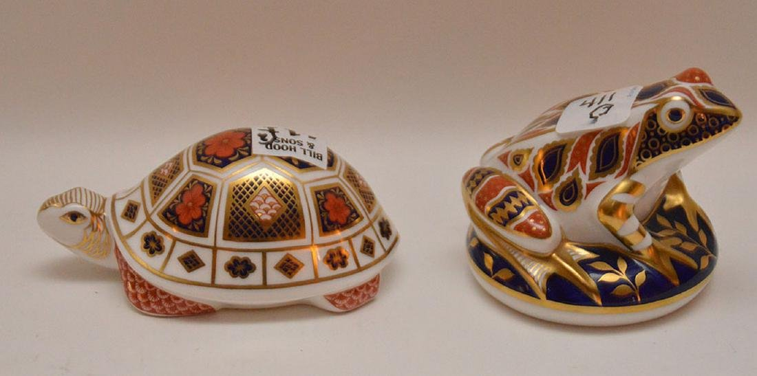 "Royal Crown Derby turtle (4 1/2"") and frog (3 1/2"") - 3"
