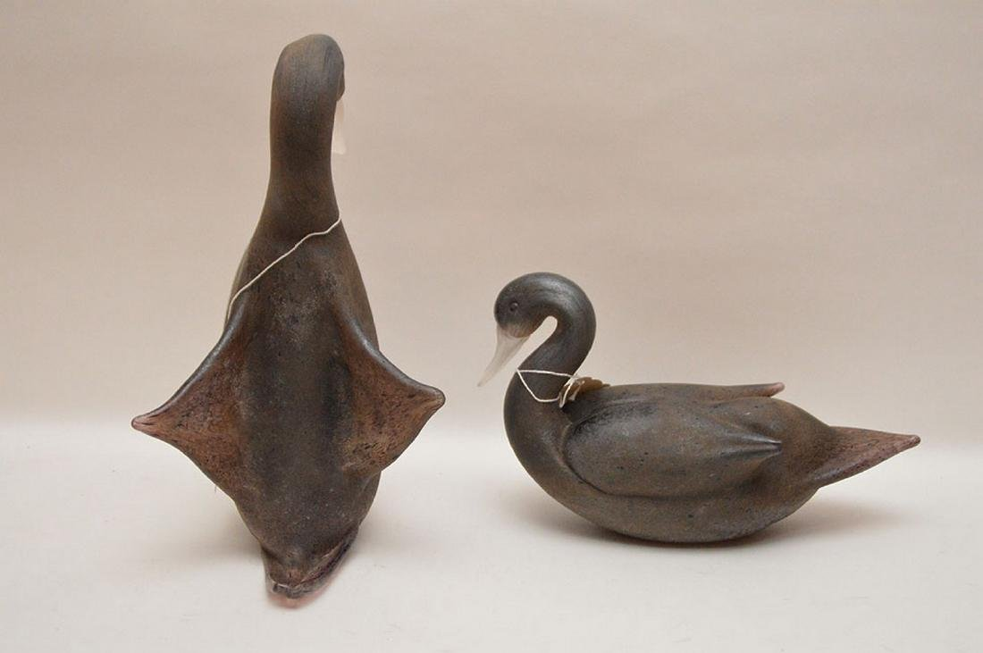 """Pair of art glass swans, 13""""h and 12""""L - 4"""