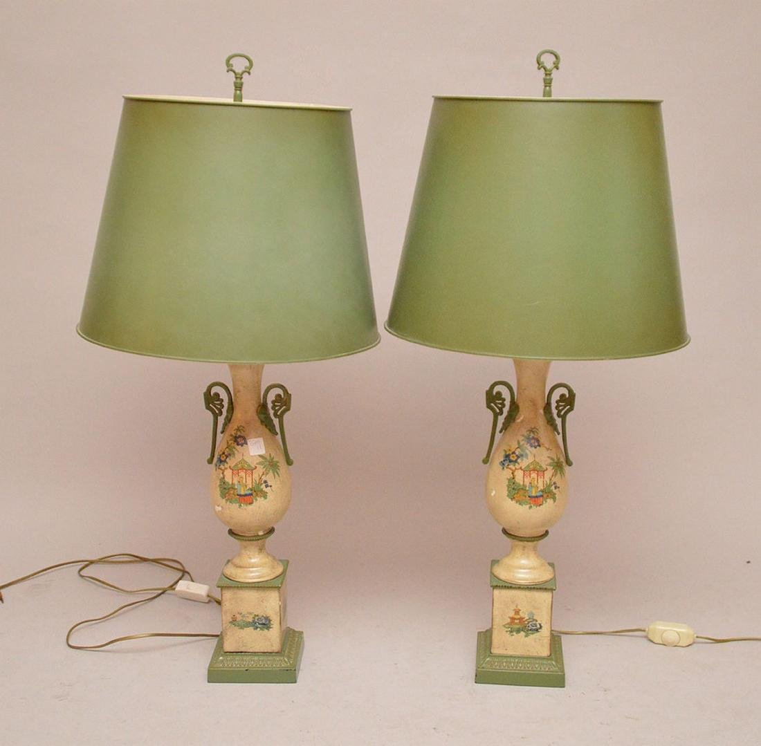 "Pair composition urn form lamps, 39""h"