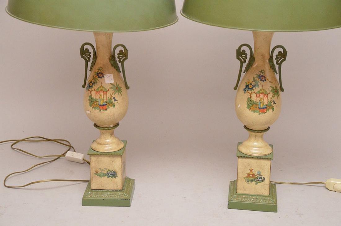"Pair composition urn form lamps, 39""h - 2"