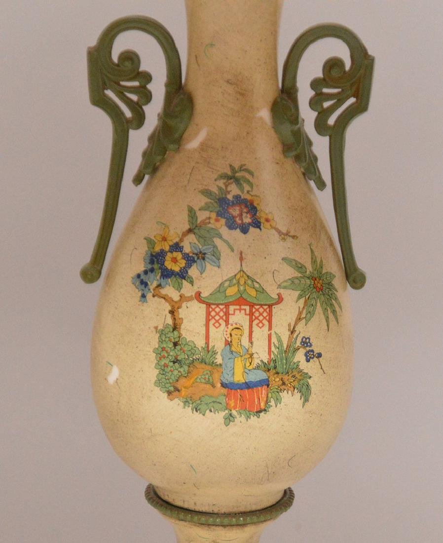 "Pair composition urn form lamps, 39""h - 3"