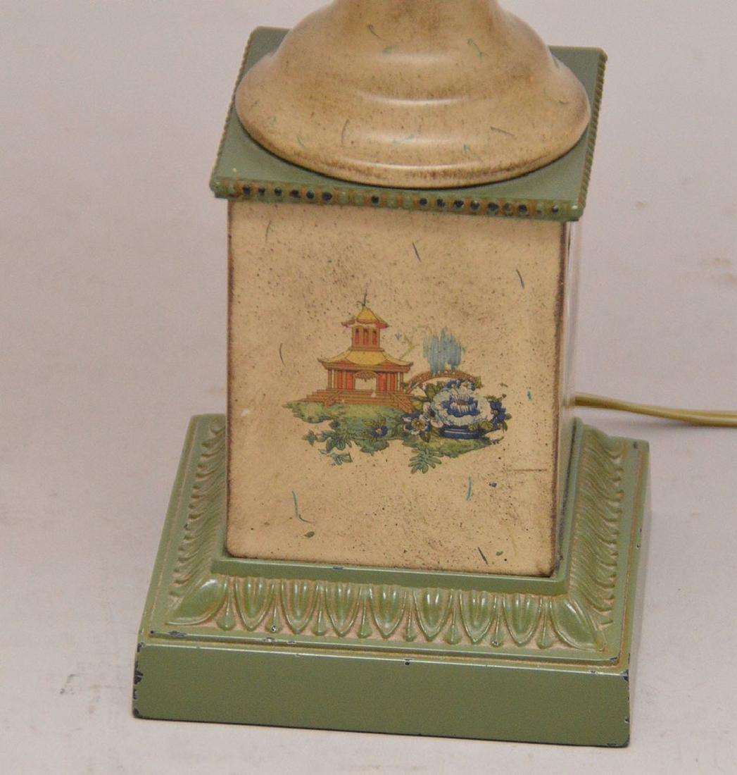 "Pair composition urn form lamps, 39""h - 4"
