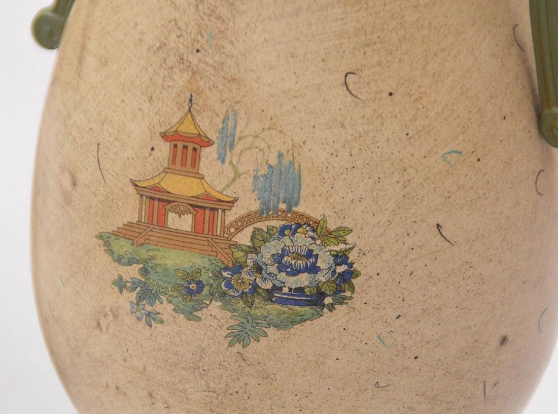 "Pair composition urn form lamps, 39""h - 5"