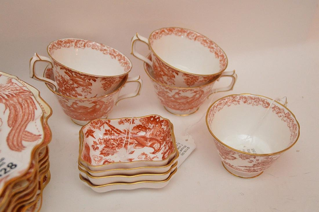 "Royal Crown Derby ""Red Aves"", incl; 9 scallop luncheon - 4"