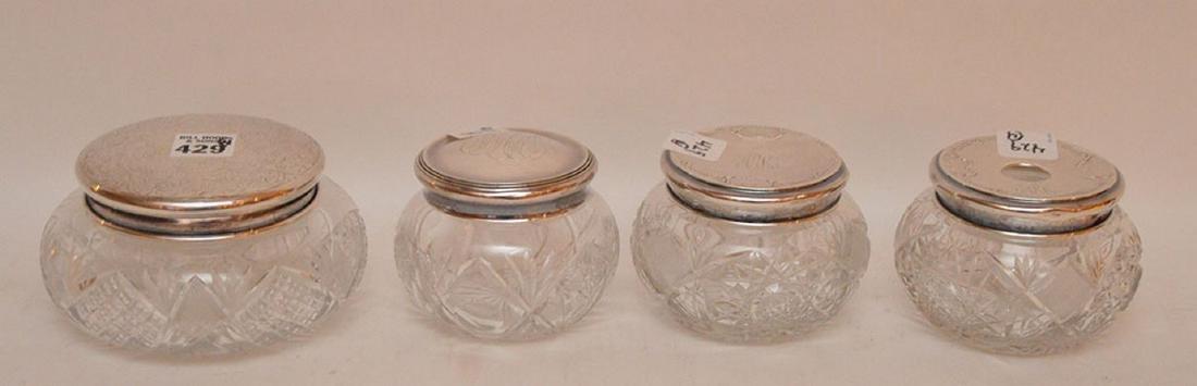 "4 cut glass dresser jars, (3""h tallest) & (5"