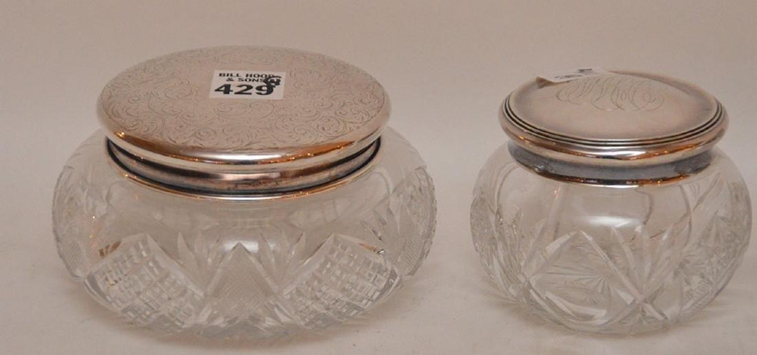 "4 cut glass dresser jars, (3""h tallest) & (5 - 2"