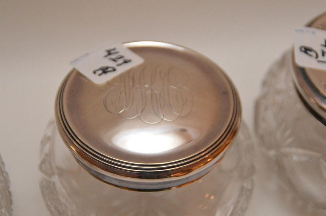 "4 cut glass dresser jars, (3""h tallest) & (5 - 4"