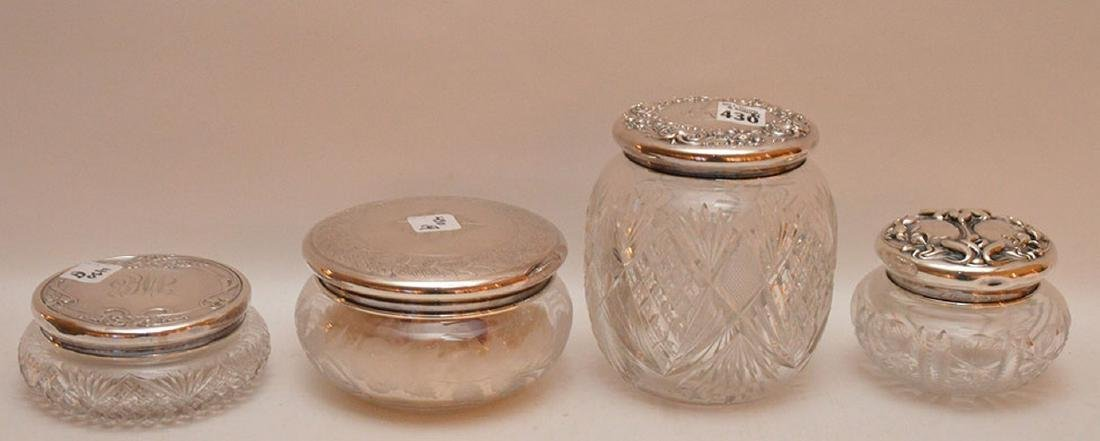 "4 cut glass dresser jars, (6""h tallest) & (6""longest)"
