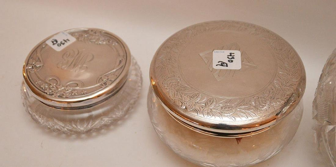 "4 cut glass dresser jars, (6""h tallest) & (6""longest) - 4"