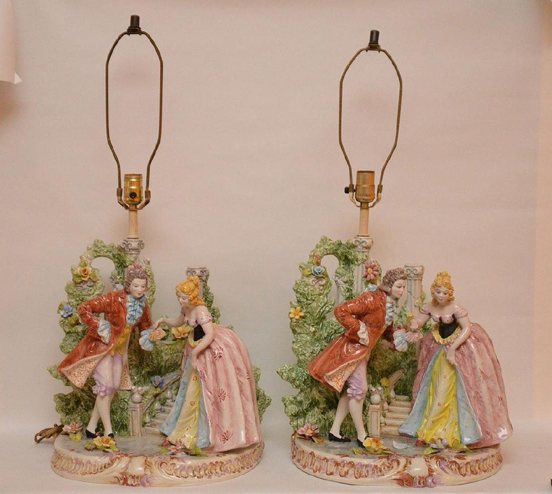 "Pair porcelain lamps, figural grouping, 19""h"