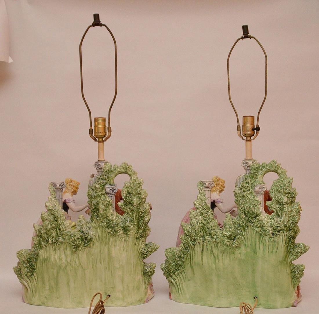 "Pair porcelain lamps, figural grouping, 19""h - 6"