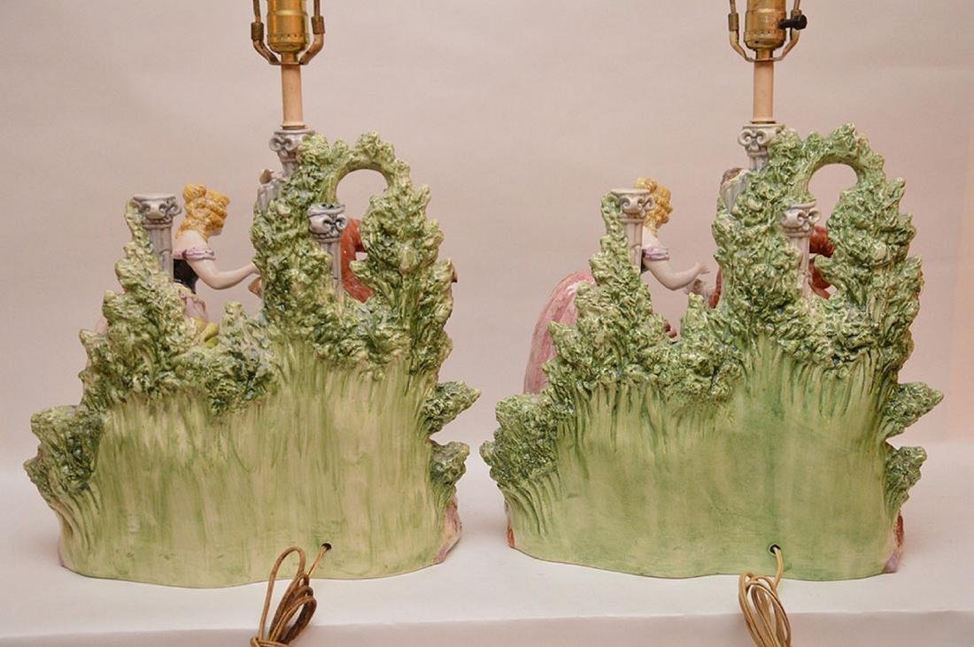 "Pair porcelain lamps, figural grouping, 19""h - 7"