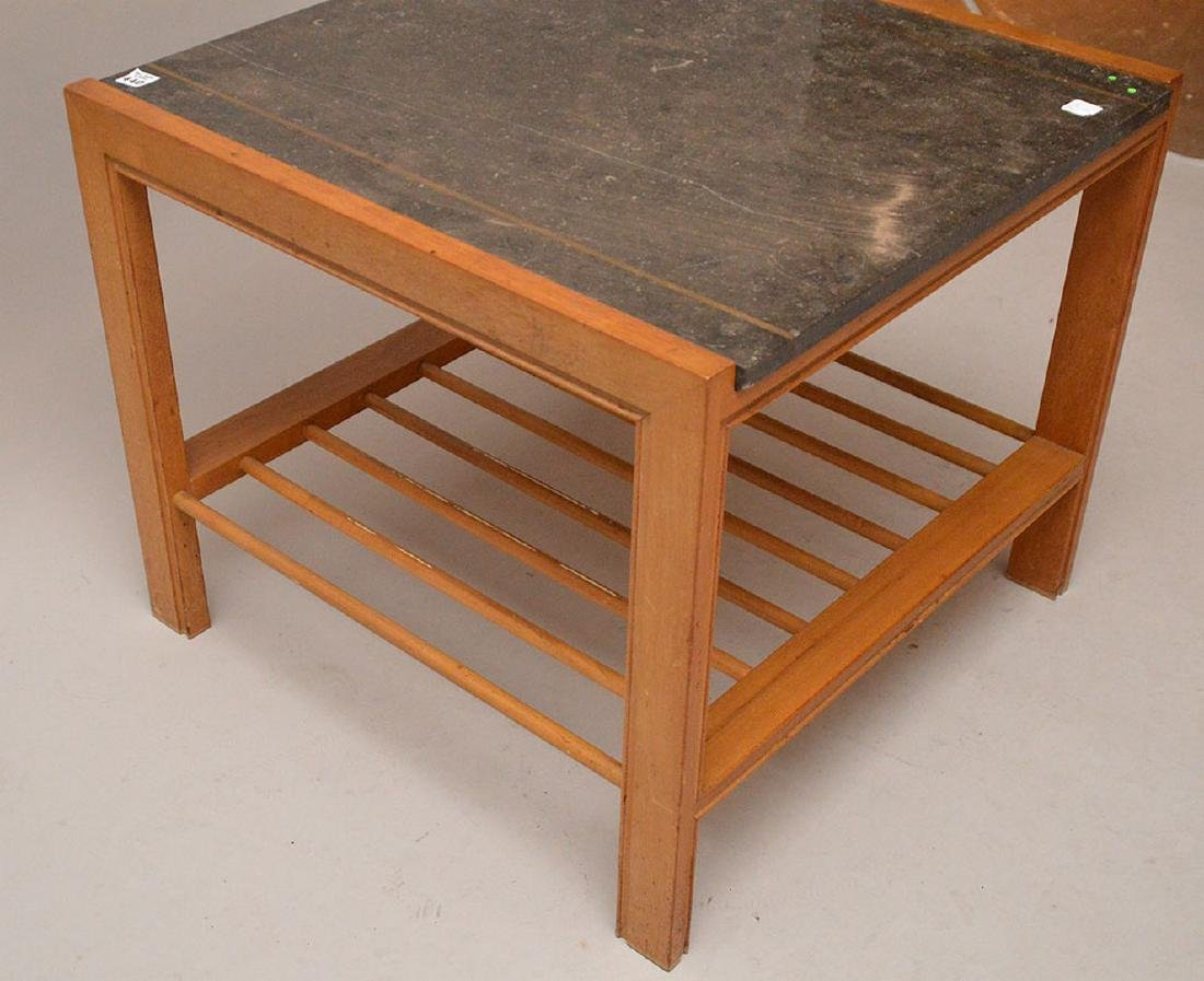 Mid century end table with stone inset top with brass - 2