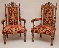Pair carved oak arm chairs 51h x 24w